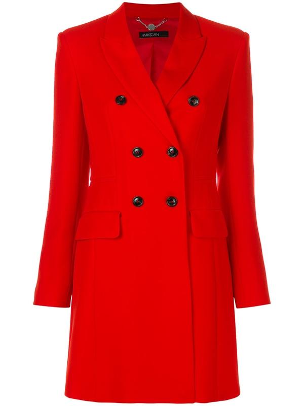 Красные пальто 2018 - приталенное двубортное пальто Marc Cain