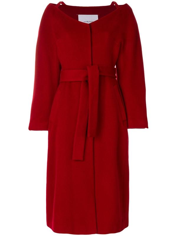 Красные пальто 2018 - Пальто-халат с поясом с большим горловым вырезом Push Button