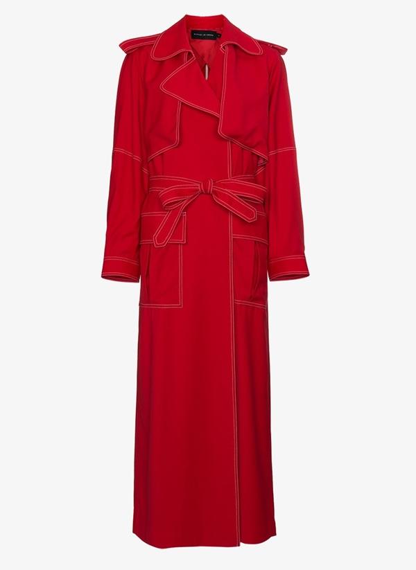 Красные пальто 2018 - Длинный осенний тренчкот в стиле милитари Michael Lo Sordo