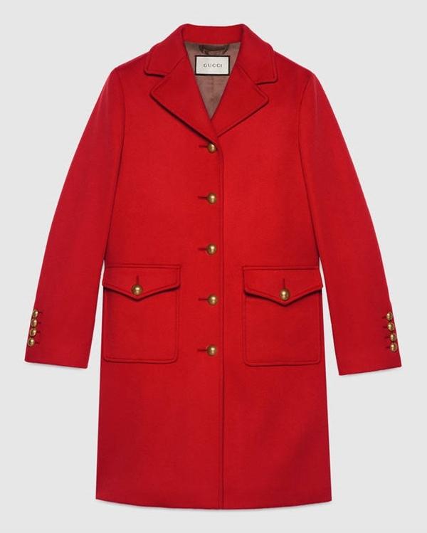Красные пальто 2018 - Шерстяное пальто оверсайз с золотыми пуговицами Gucci