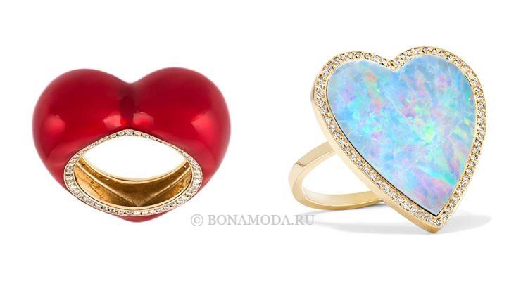 Модные женские кольца 2018 - крупные кольца сердечки из жёлтого золота