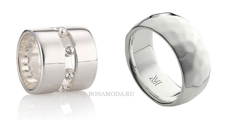 Модные женские кольца 2018 - широкие минималистичные серебряные кольца