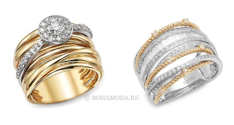 Модные женские кольца 2018 - широкие многорядные кольца из белого и жёлтого золота