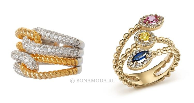 Модные женские кольца 2018 - многорядные кольца- из жёлтого золота с камнями