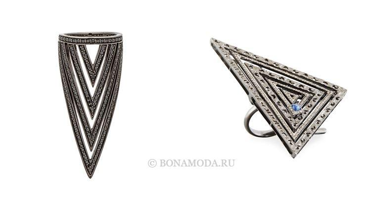 Модные женские кольца 2018 - серебряные кольца с острыми треугольниками