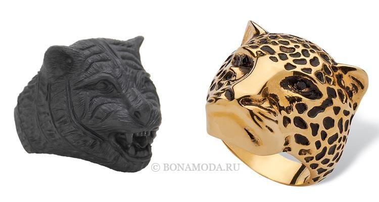 Модные женские кольца 2018 - крупные кольца с головой тигра и леопарда