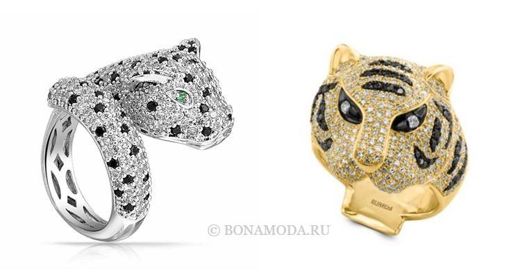 Модные женские кольца 2018 - кольцо с головой тигра и пантеры