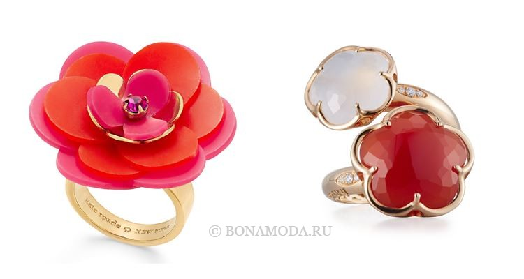 Модные женские кольца 2018 - коктейльные кольца с крупным цветочным дизайном