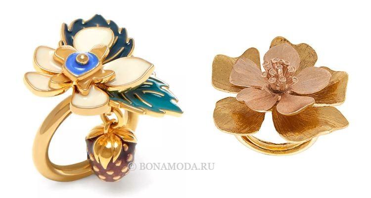 Модные женские кольца 2018 - латунные кольца с крупными цветами