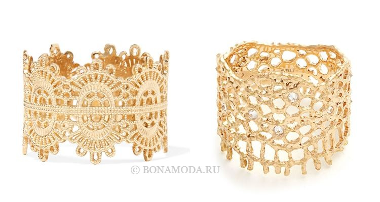 Модные женские кольца 2018 - кружевные кольца из жёлтого золота