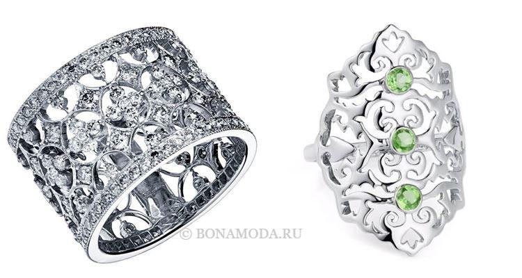 Модные женские кольца 2018 - кружевные кольца из серебра и белого золота