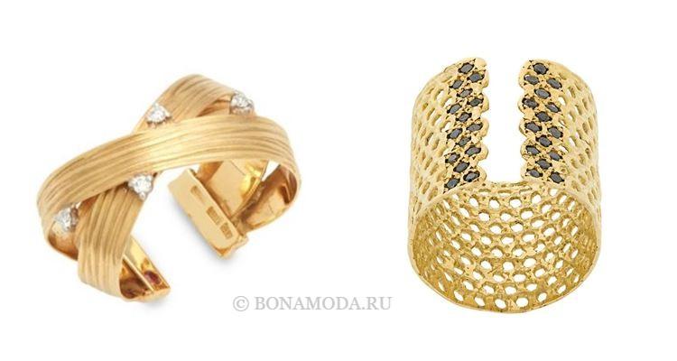 Модные женские кольца 2018 - разомкнутые кольца-каффы из желтого золота