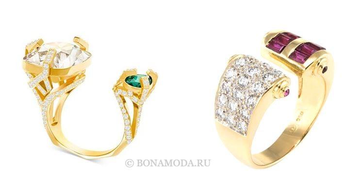 Модные женские кольца 2018 - разомкнутые кольца с разноцветными камнями и бриллиантами