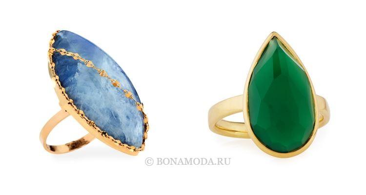 Модные женские кольца 2018 - кольца с овальными и грушевидными камнями