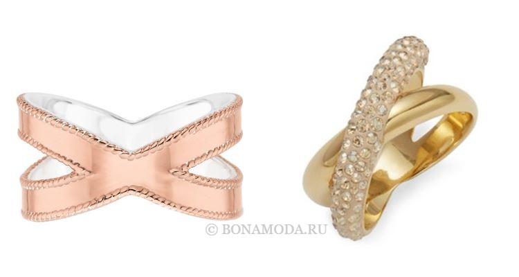 Модные женские кольца 2018 - золотые кольца с перекрещенным дизайном