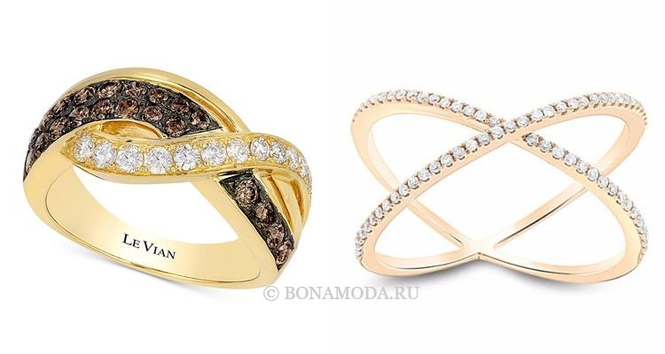 Модные женские кольца 2018 - золотые кольца крест-накрест с бриллиантами