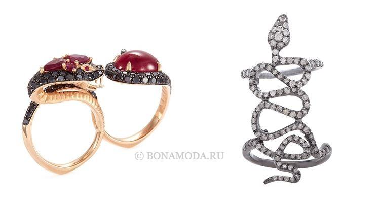 Модные женские кольца 2018 - двойные кольца-змейки