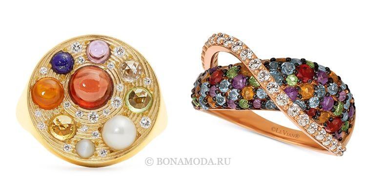 Модные женские кольца 2018 - кольца с яркими цветными камнями