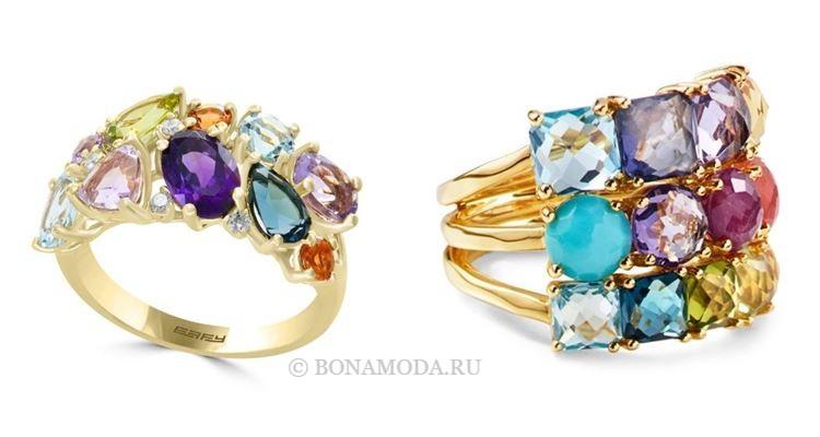 Модные женские кольца 2018 - кольца из жёлтого золота с разноцветными камнями