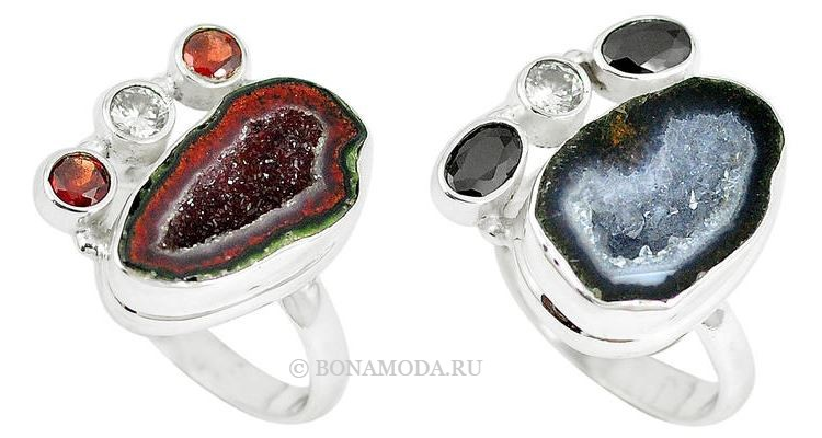 Модные женские кольца 2018 - серебряные кольца с друзами