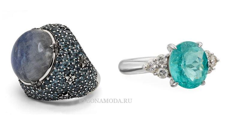 Модные женские кольца 2018 - кольцо из серебра и платины с круглыми камнями