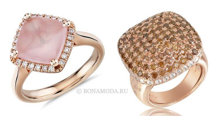 Модные женские кольца 2018 - коктейльные кольца из розового золота с кварцем и цирконами