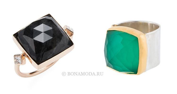 Модные женские кольца 2018 - прямоугольные коктейльные кольца с черными и зелёными камнями