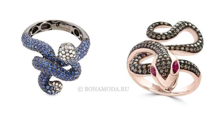 Модные женские кольца 2018 - кольца-змейки с сапфирами и рубинами