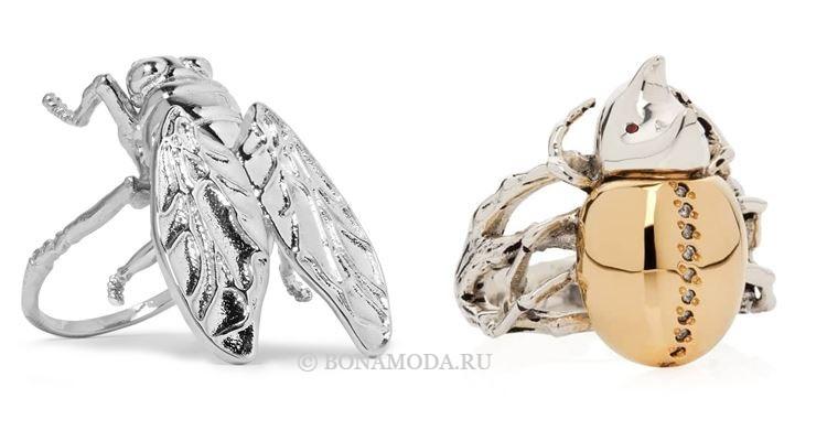 Модные женские кольца 2018 - кольца муха и жук