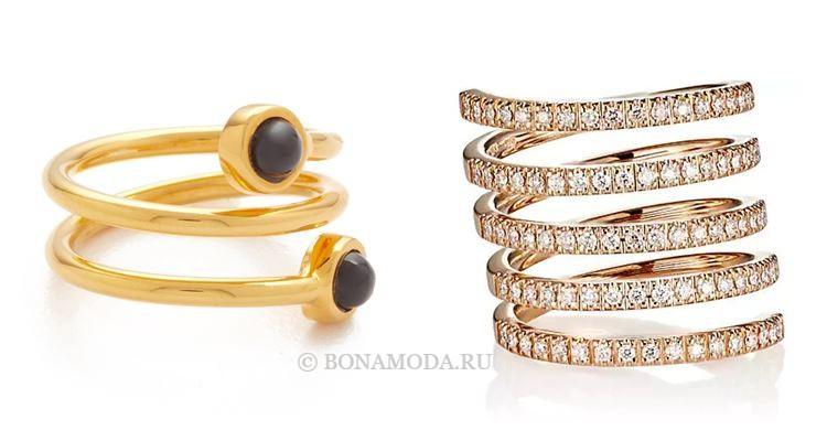 Модные женские кольца 2018 - золотые кольца спирали
