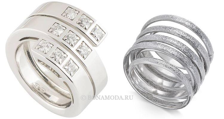 Модные женские кольца 2018 - кольца из белого золота и серебра спиралевидной формы
