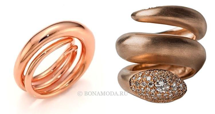 Модные женские кольца 2018 - кольца-спирали из розового и красного золота