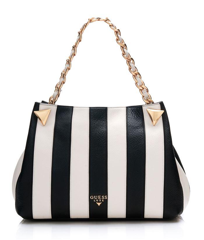 Сумки Guess Luxe весна-лето 2018 - сумка шоппер в полоску на короткой ручке-цепочке