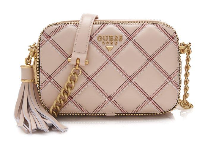 Сумки Guess Luxe весна-лето 2018 - бежево-розовая клетчатая поясная сумка на цепочке