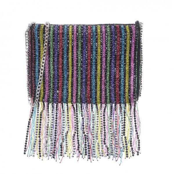 Сумки Topshop весна-лето 2018 - Разноцветная полосатая сумка с пайетками и бахромой