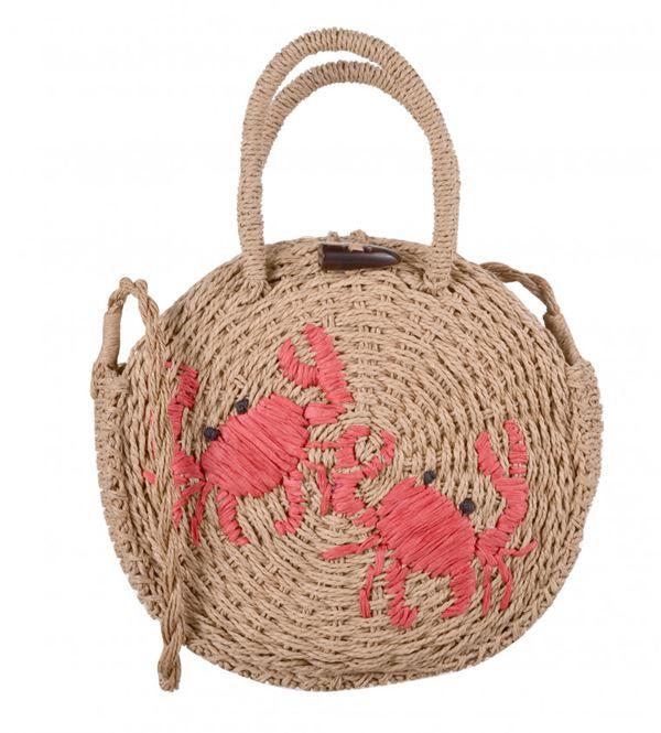 Сумки Topshop весна-лето 2018 - Круглая плетеная сумка с вышивкой крабами