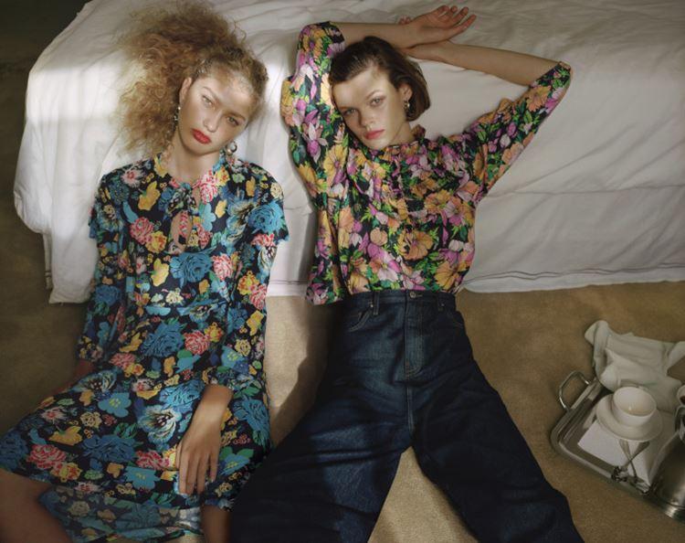 Рекламная кампания Topshop весна-лето 2018 - джинсы с цветочной блузкой и платье с цветочным принтом