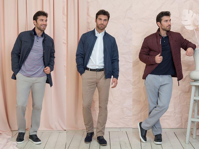 Мужская коллекция BAON весна-лето 2018 - серые и бежевые брюки с куртками-бомберами