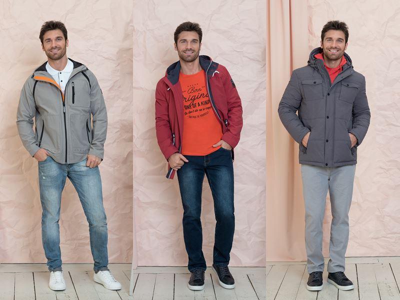 Мужская коллекция BAON весна-лето 2018 - джинсы и брюки с серыми и красными куртками