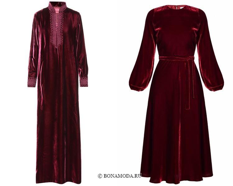 Цвета бархатных платьев 2018 - Длинные бордовые платья с длинными рукавами