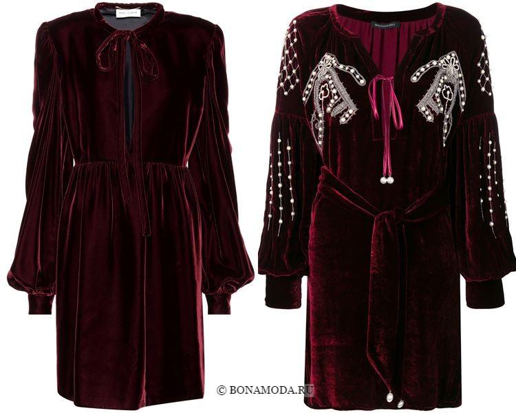 Цвета бархатных платьев 2018 - Короткие бордовые платья с длинными рукавами