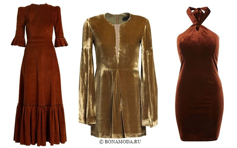 Цвета бархатных платьев 2018 - Коктейльные и вечерние коричневые платья