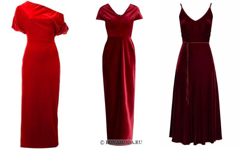 Цвета бархатных платьев 2018 - Длинные вечерние красные платья