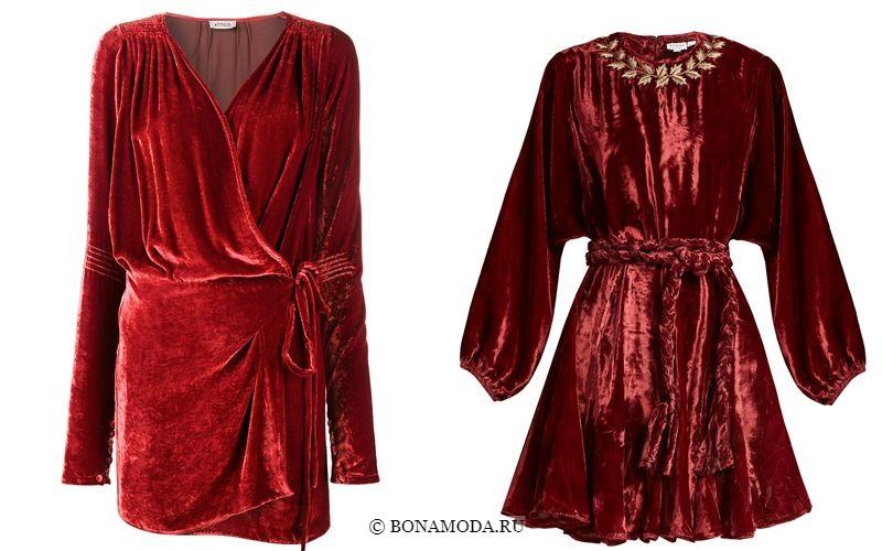 Цвета бархатных платьев 2018 - Короткие коктейльные красные платья