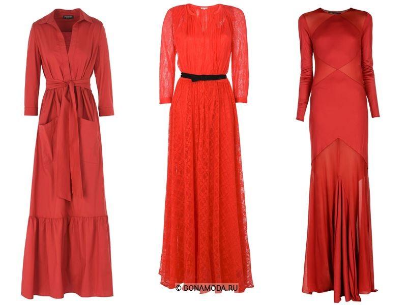 Цвета длинных платьев 2018 - красные платья с длинными рукавами