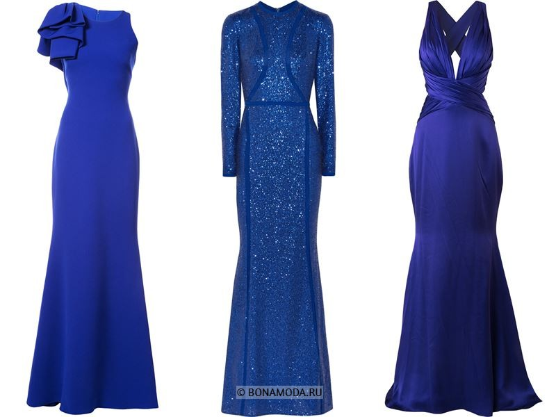 Цвета длинных платьев 2018 - вечерние синие платья-русалка