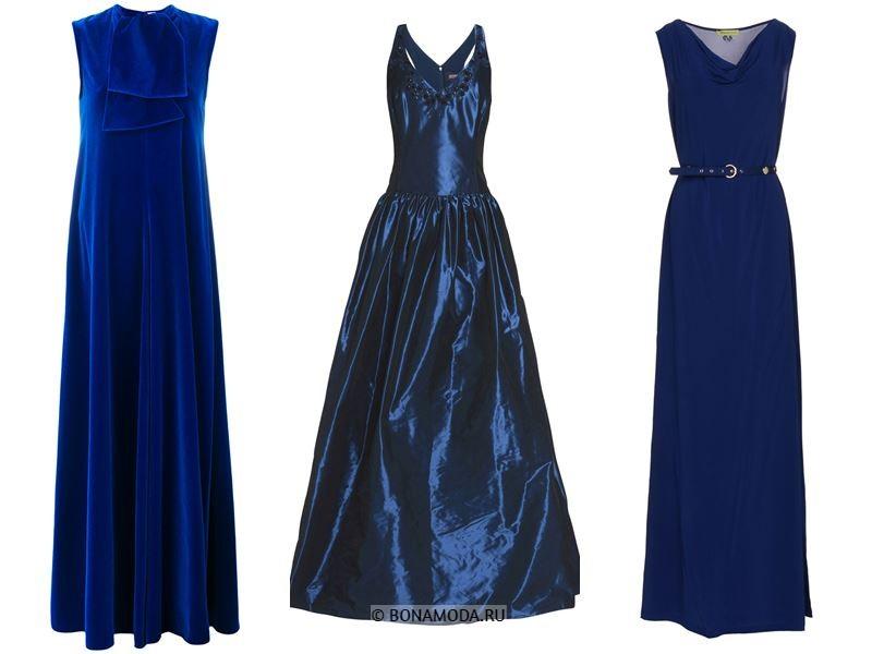 Цвета длинных платьев 2018 - вечерние платья из синего бархата, атласа и шёлка
