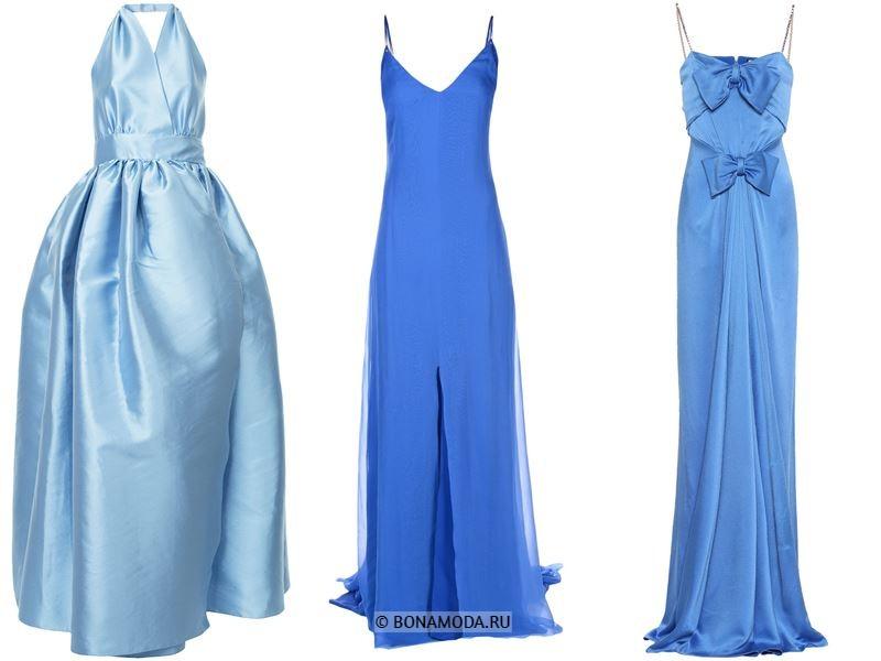 Цвета длинных платьев 2018 -  вечерние голубые платья