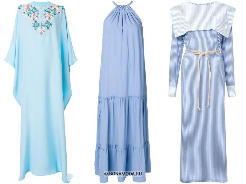 Цвета длинных платьев 2018 - летние голубые платья