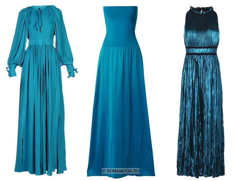Цвета длинных платьев 2018 - тёмно-бирюзовые вечерние платья
